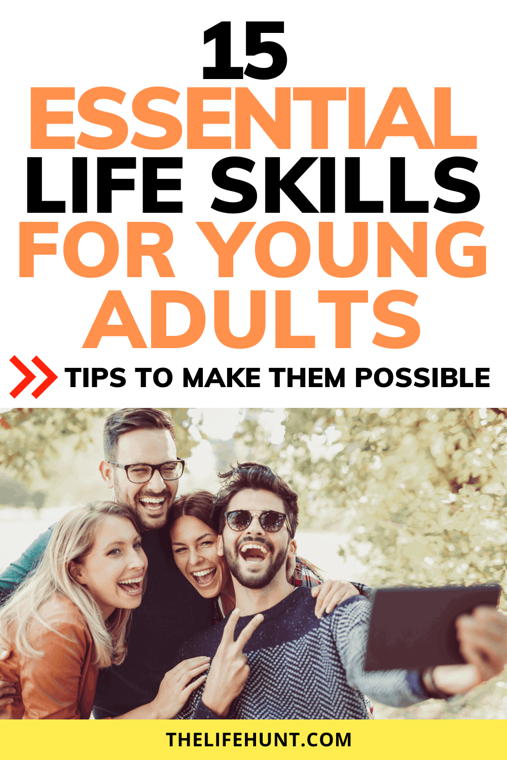 Essential life skills group of young adults