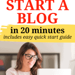 start a blog with girl and laptop