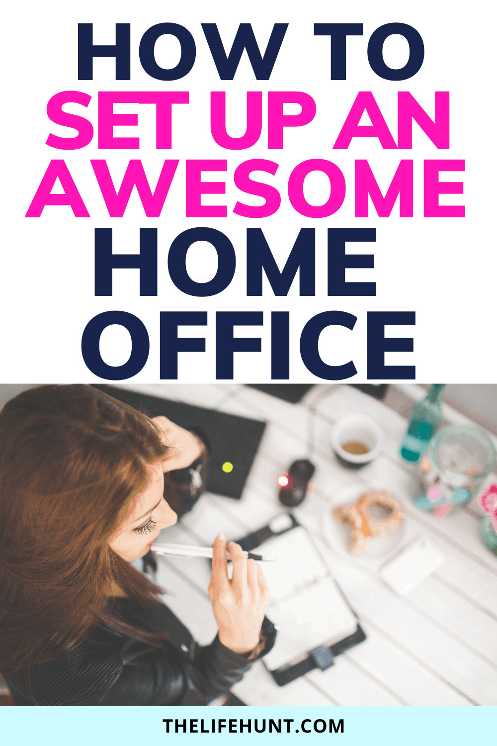 comfortable home office girl holding pen