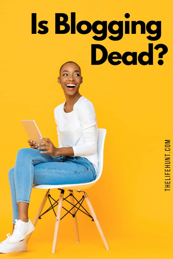 is blogging dead girl on stool yellow background