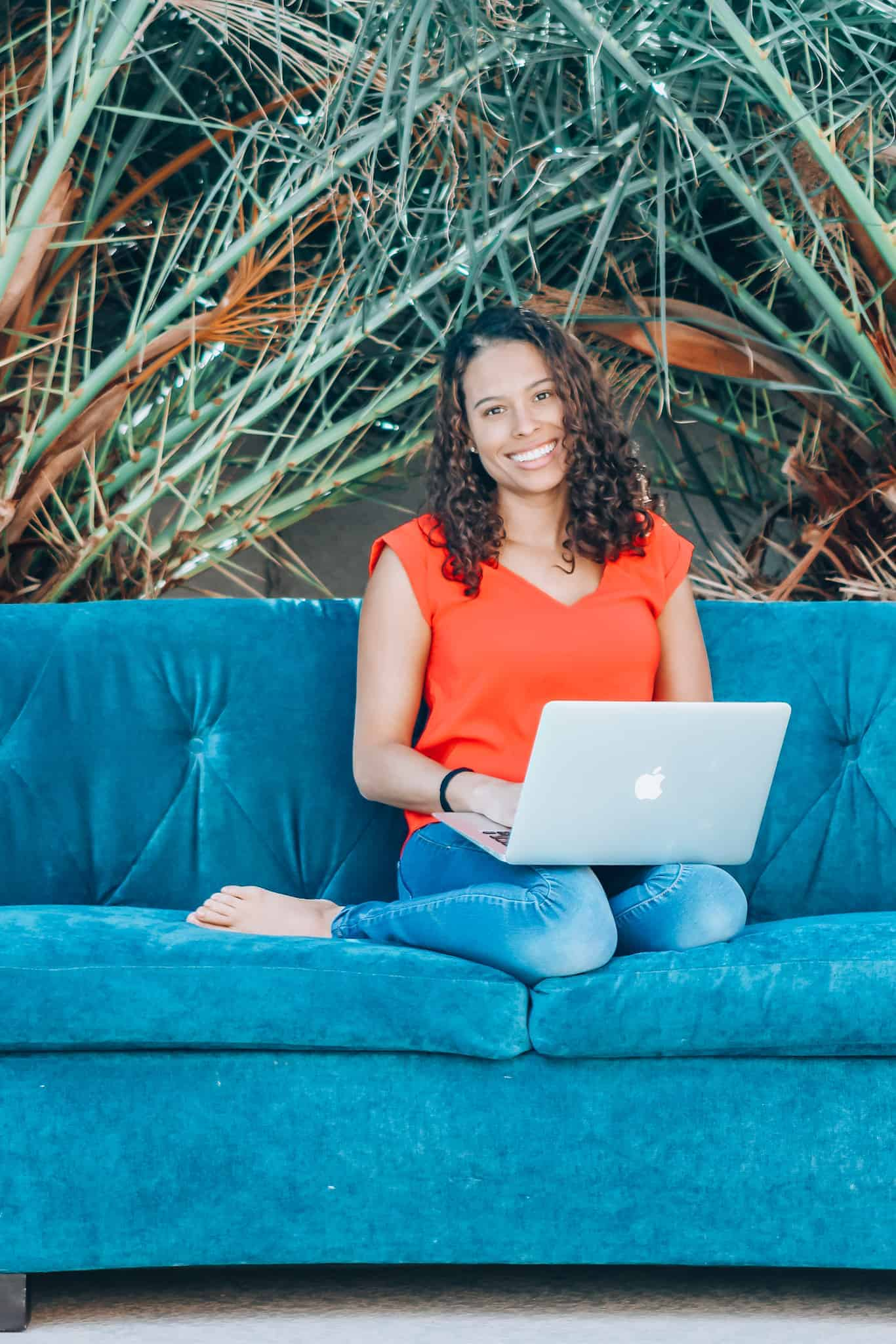 Alyssa Hunt couch and laptop